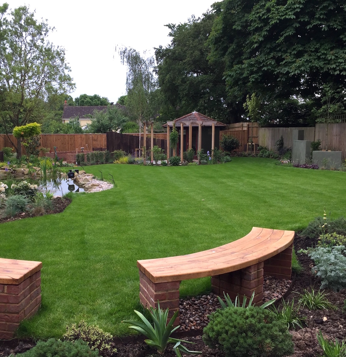 Loxley Curved Oak Benches and Formal Lawn