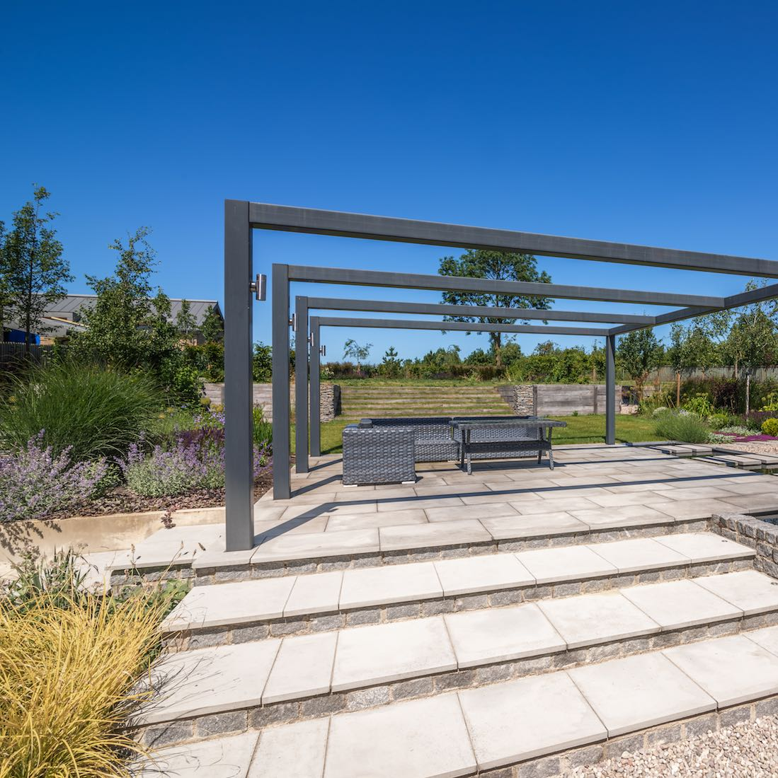 Contemporary Family Garden, 35 Bourn Caxton, Steel Pergola and Sandstone Steps