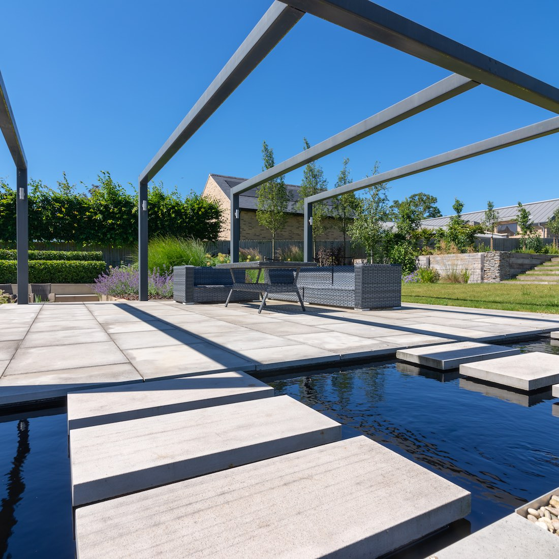 Contemporary Family Garden, 35 Bourn Caxton, Steel Pergola